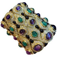 Emerald, Amethyst, Onyx and Diamond Cuff Bracelet