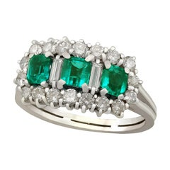 Emerald and 1.02 Carat Diamond White Gold Cluster Ring