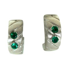 Emerald and 18 Karat White Gold Hoop Earrings