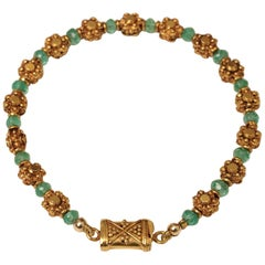 Emerald and 22 Karat Gold Beaded Bracelet by Deborah Lockhart Phillips