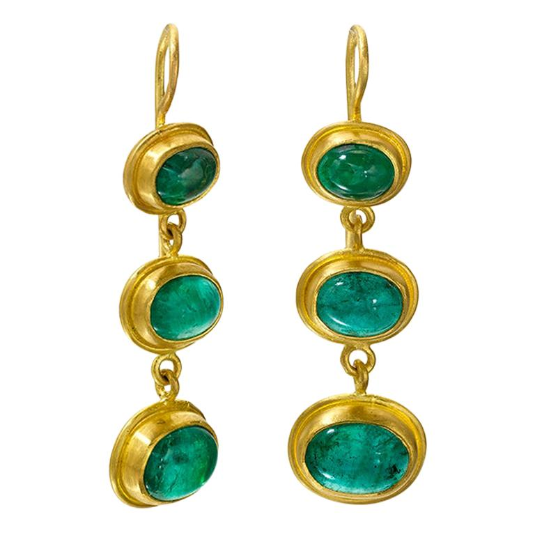 Emerald and 22 Karat Yellow Gold Earrings For Sale