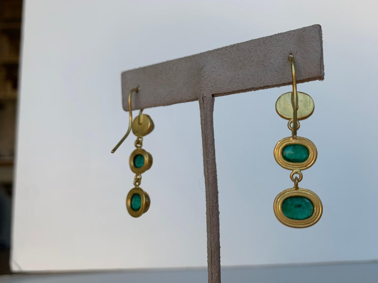 Artisan Emerald and 22 Karat Yellow Gold Earrings For Sale