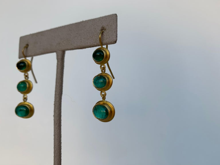 Emerald Cut Emerald and 22 Karat Yellow Gold Earrings For Sale