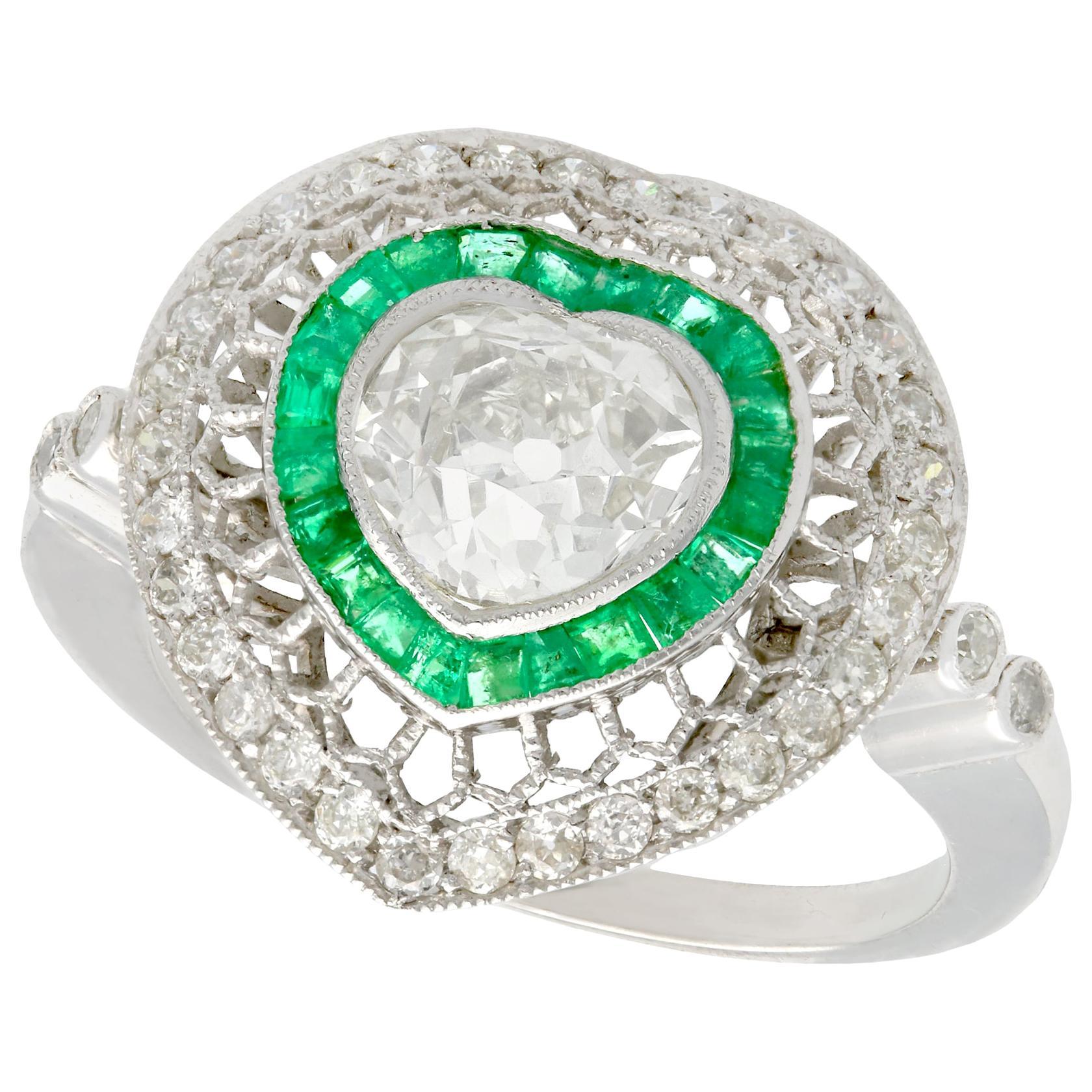Emerald and 2.62 Carat Diamond Platinum Cocktail Ring