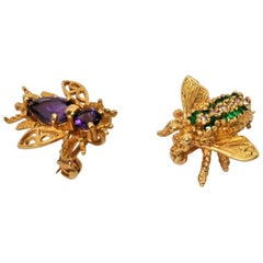 Emerald and Amethyst Yellow Gold Bee Brooch Duo