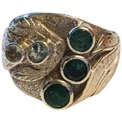 Emerald and Aquamarine Ring