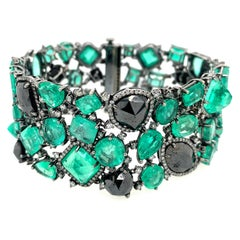 Emerald and Black Diamond Bracelet