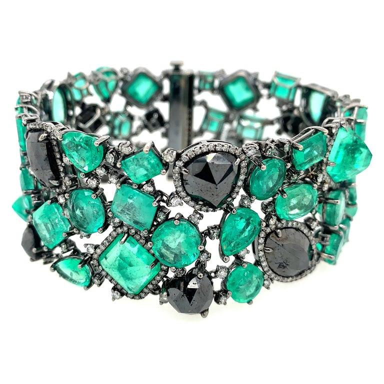 Emerald and Black Diamond Bracelet For Sale