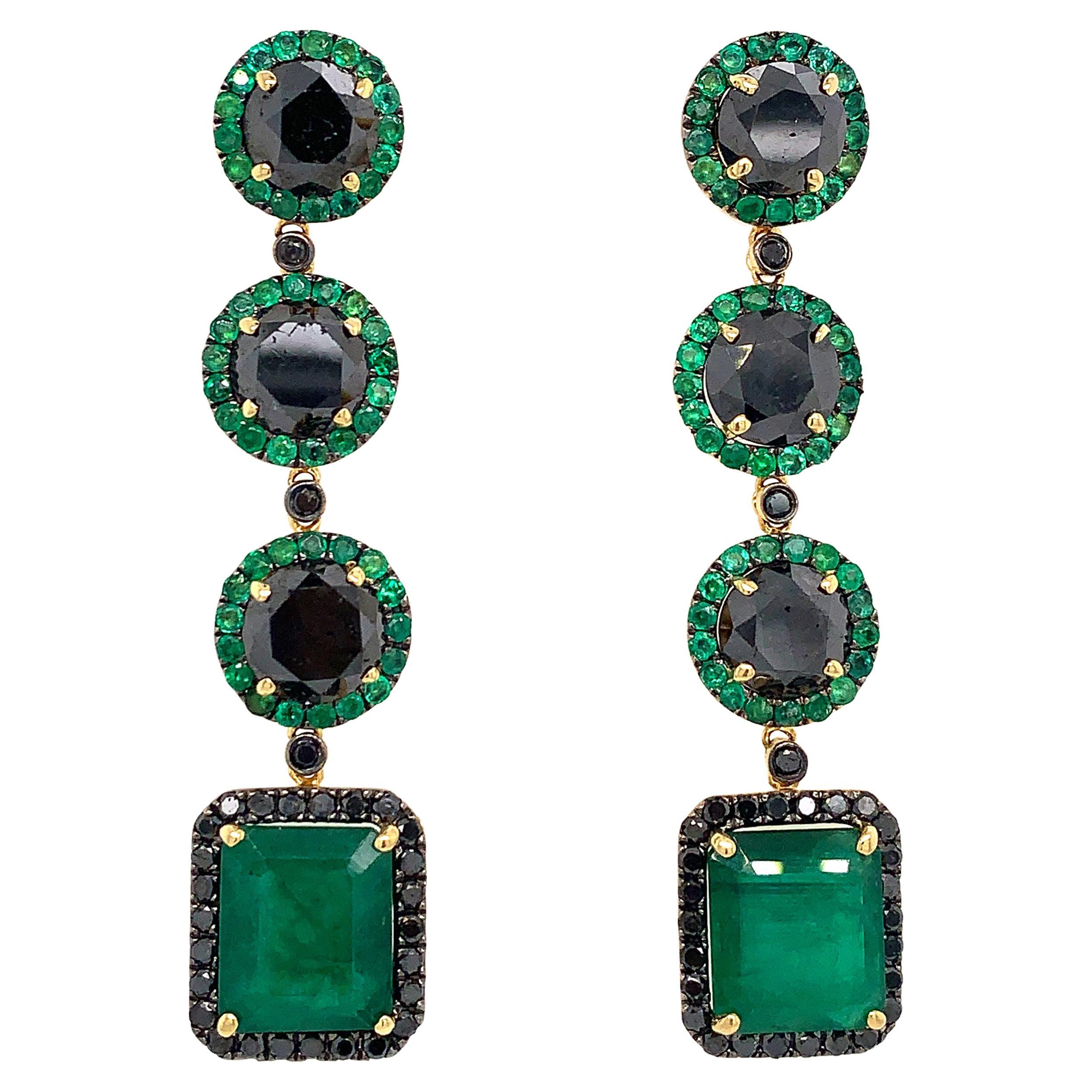 Emerald and Black Diamond Drop Dangle Earrings