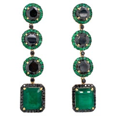 Emerald and Black Diamond Drop Dangle Earrings