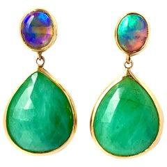 Emerald and Black Opal Drop Earring 18 Karat Gold