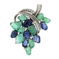 Emerald and Blue Sapphire with Diamond in 14 Karat White Gold Floral Pin Brooch