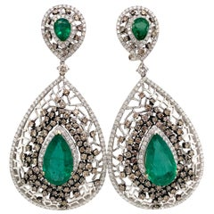 Emerald and Brown Diamond Statement Chandelier Earrings