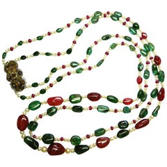 Emerald and Burmese No Heat Red Spinel Beads Brown Diamond Gold Necklace