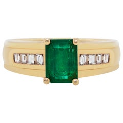 Emerald and Diamond 14 Carat Yellow Gold Ring