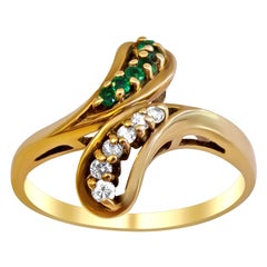 Emerald and Diamond 14 Karat Gold Ladies Ring