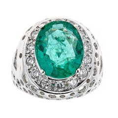 4 .3 TCW Oval Emerald Diamond Accents 14kt White Gold Cocktail Engagement Ring