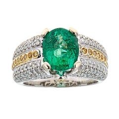 3.2 TCW Oval Emerald Canary Yellow White Diamond Engagement Ring 14 Karat Gold