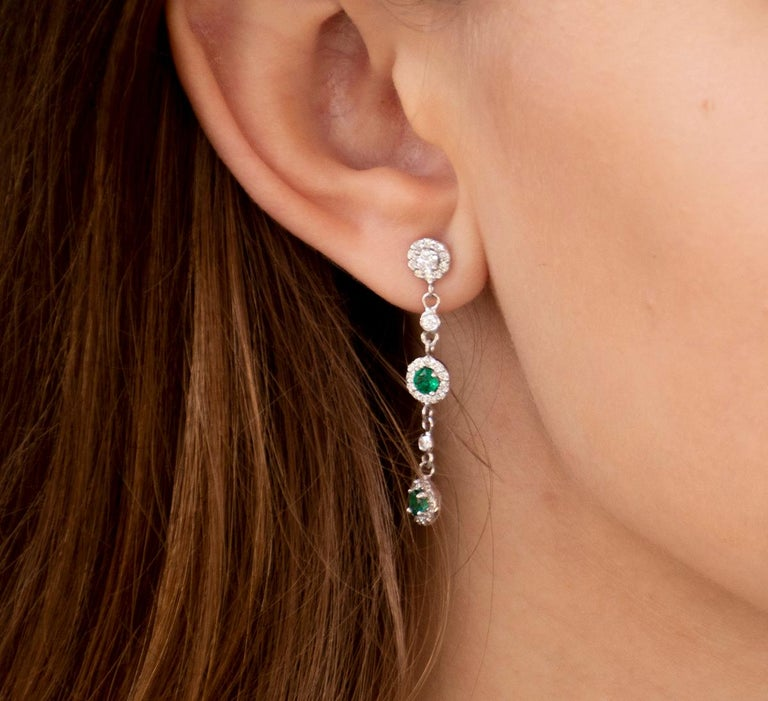 Contemporary Emerald and Diamond Drop Earrings Weighing 1.95 Carat  For Sale