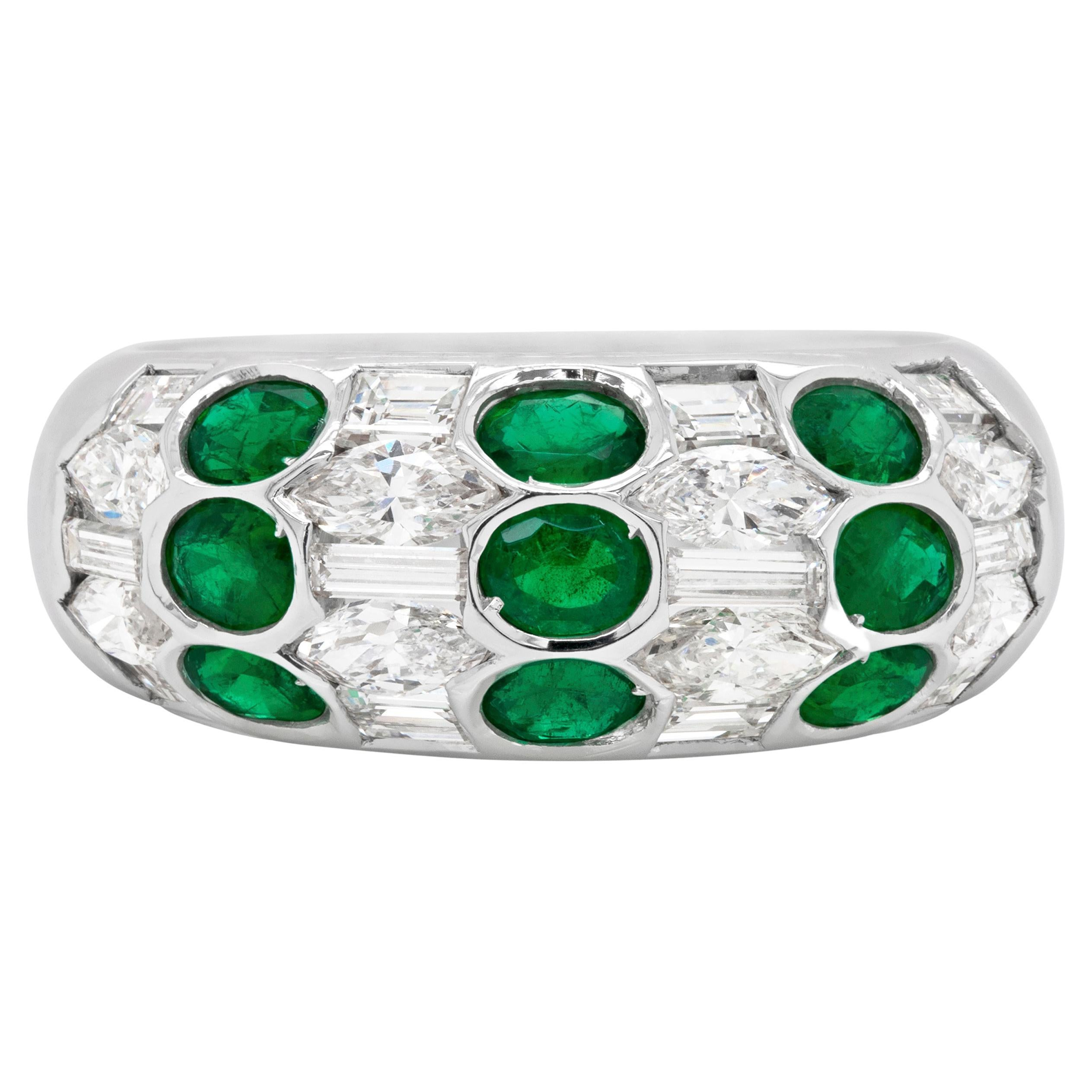 Emerald and Diamond 18 Carat White Gold Honeycomb Bombé Dome Cocktail Ring