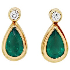 Emerald and Diamond 18 Carat Yellow Gold Drop Earrings