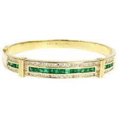 Emerald and Diamond 18 Karat Gold Bangle Bracelet