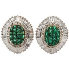 Emerald and Diamond 18 Karat Gold Earring