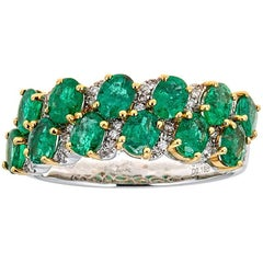 1.93 ct Oval Emerald Diamond Accent Double Row Cocktail Band 18 kt two Tone Gold