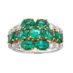 2.99 ct Oval Emerald and 0.57 ct Diamond Accent Floral Ring in 18k Two-Tone Gold