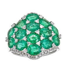 Emerald and Diamond 18 Karat Gold Ring