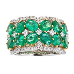 3.7 TCW Emerald and Diamond Royal Engagement Band Ring in 18k White Gold