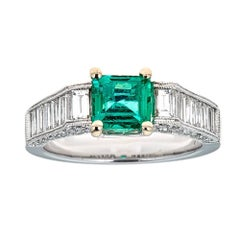 1 TCW Asscher Cut Emerald diamond accent engagement Ring 18k White Gold