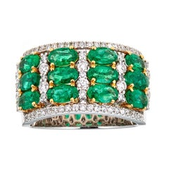 2.69 Carat Oval Cut Emerald and Round Diamond Cocktail Ring in 18k Two-Tone Gold