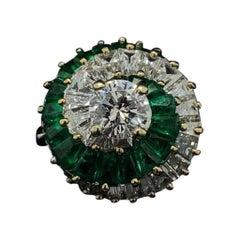 Emerald and Diamond 18 Karat Yellow Gold Cocktail Ring, Circa 1960