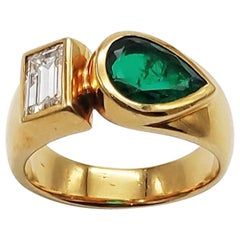 Emerald and Diamond 18 Karat Cocktail Ring