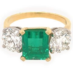 Emerald and Diamond 3-Stone Ring