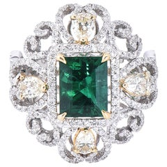 Laviere Emerald and Diamond Art Deco Style Ring
