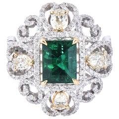 Laviere Emerald and Diamond Art Deco Ring