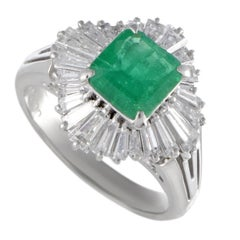 Emerald and Diamond Baguette Tapered Platinum Cocktail Ring