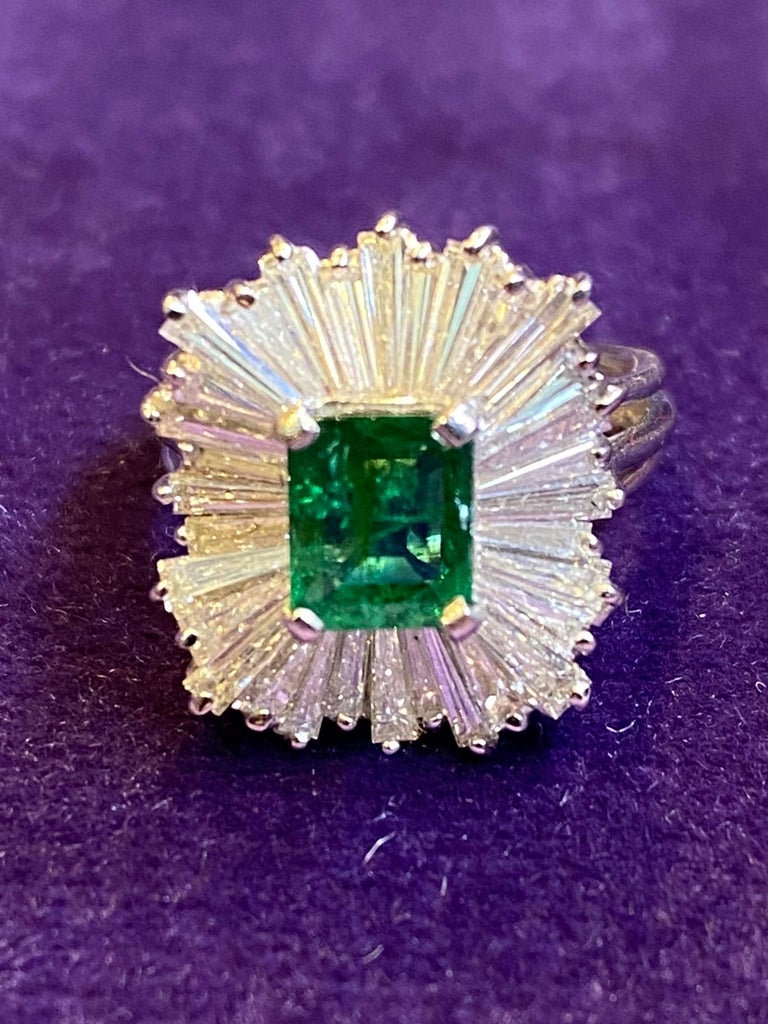 Baguette Cut Emerald and Diamond Ballerina Cocktail Ring For Sale