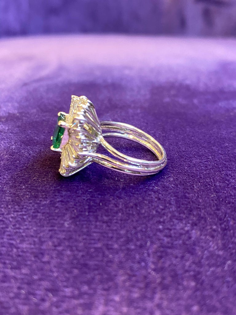 Women's Emerald and Diamond Ballerina Cocktail Ring For Sale