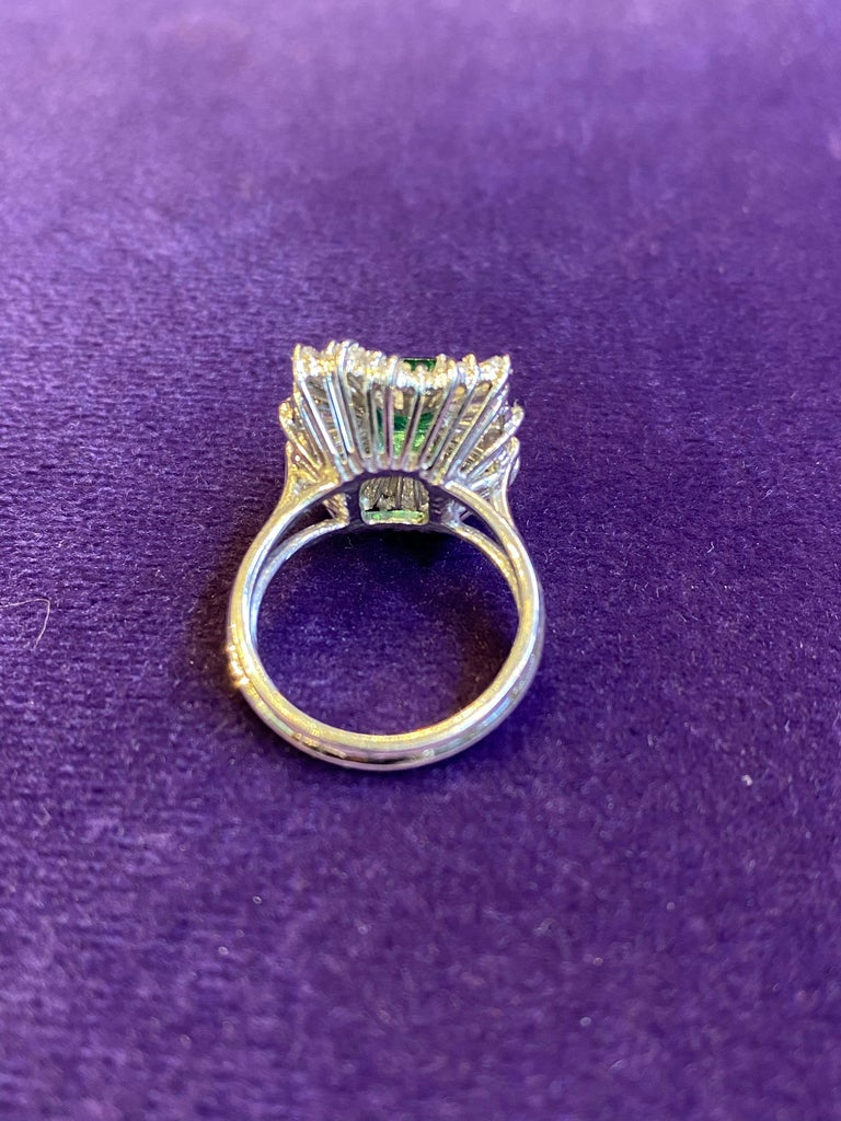 Emerald and Diamond Ballerina Cocktail Ring For Sale 1