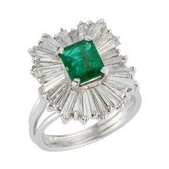 Emerald and Diamond Ballerina Cocktail Ring