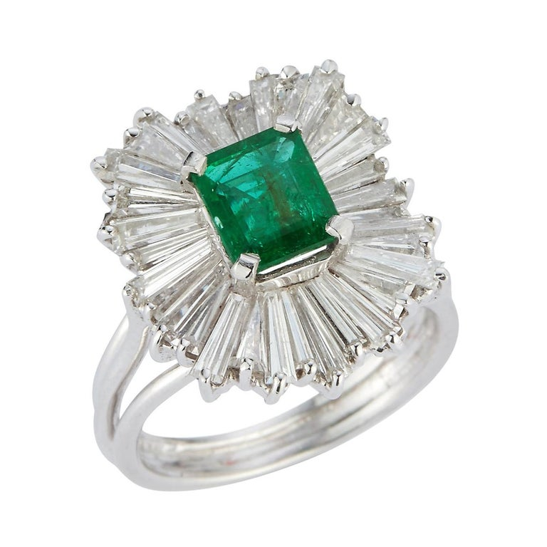 Emerald and Diamond Ballerina Cocktail Ring For Sale