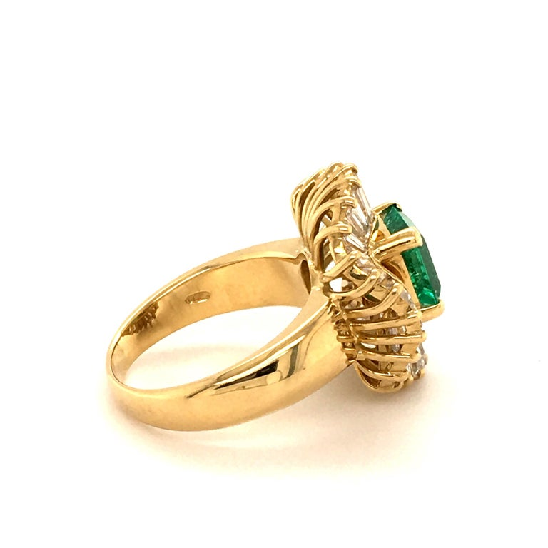 Octagon Cut Emerald and Diamond Ballerina Ring in 18 Karat Yellow Gold For Sale