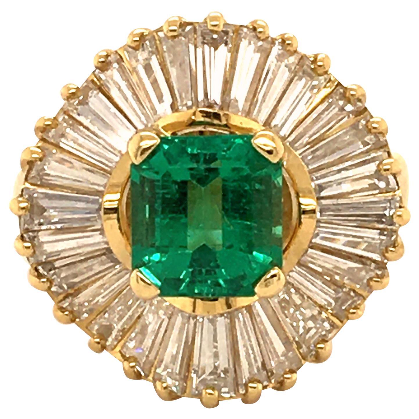 Emerald and Diamond Ballerina Ring in 18 Karat Yellow Gold