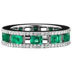 JAG New York Emerald and Diamond Platinum Band