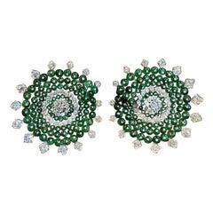 Emerald and Diamond Bead Earrings