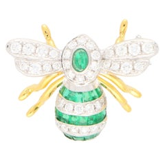 Emerald and Diamond Bee Brooch Pin Set in 18k Yellow and White Gold