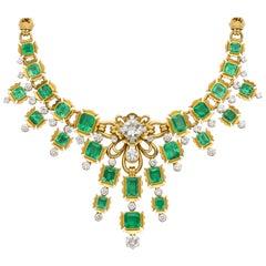 Emerald and Diamond Bib Necklace
